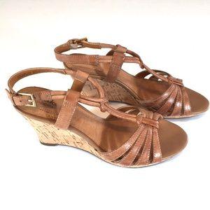 Clarks Bendables Fiddle Scroll Cork Wedge Sandals